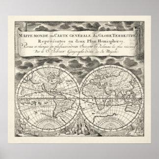 旧式な世界地図の半光沢ポスターレプリカ ポスター