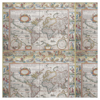 旧式な世界地図の習慣の生地 ファブリック