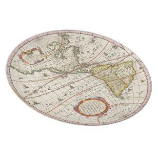 旧式な世界地図アメリカ大陸 プレート