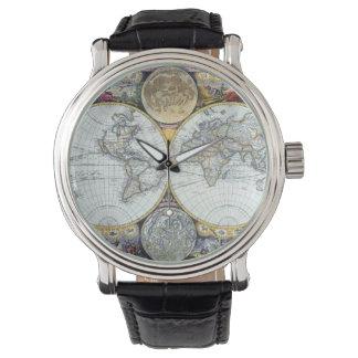 旧式な世界地図、ジョンの販売人による地図書Maritimus 腕時計