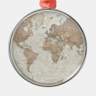 旧式な世界地図 メタルオーナメント
