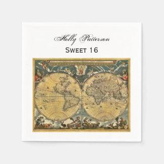 旧式な世界地図、白いBGのスクエア菓子16 スタンダードカクテルナプキン