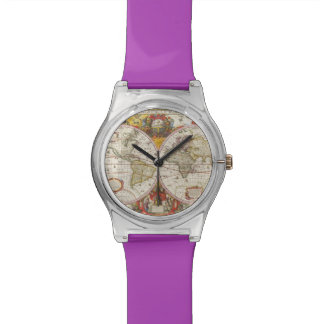 旧式な世界地図 腕時計
