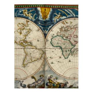 旧式な世界地図- Blaeu、ジョアン1664年 ポストカード