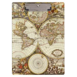 旧式な世界地図、c. 1680年。 Frederick de Wit著 クリップボード