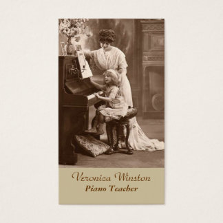 旧式な写真のピアノの教師の名刺 名刺