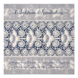 旧式な刺繍の洗礼の招待(女の子) カード