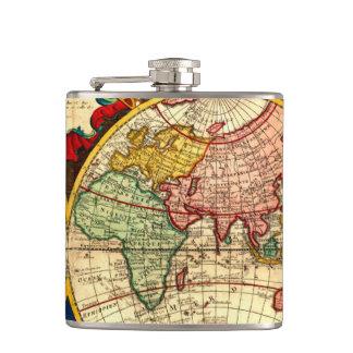 旧式な地図の地球の東半球大陸 フラスク
