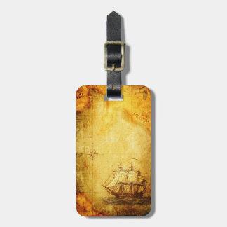旧式な地図及び船 ラゲッジタグ