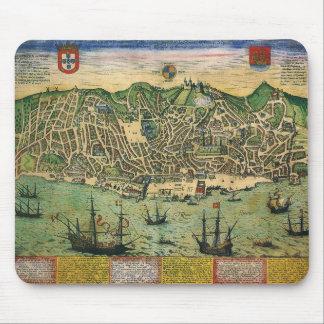 旧式な地図、リスボン、ポルトガル1598年の市街地図 マウスパッド