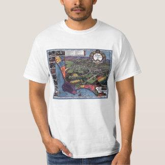 旧式な地図、空気のロスアンジェルスカリフォルニア Tシャツ