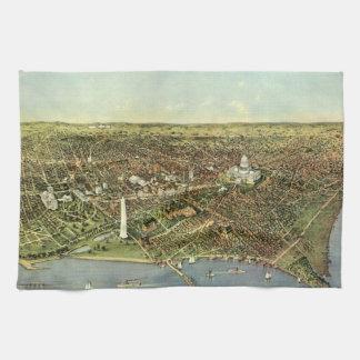 旧式な地図、Washington D.C.の全景 キッチンタオル
