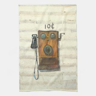 旧式な壁の電話台所タオル キッチンタオル