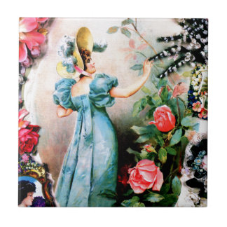 旧式な女性女性のバラの花 タイル