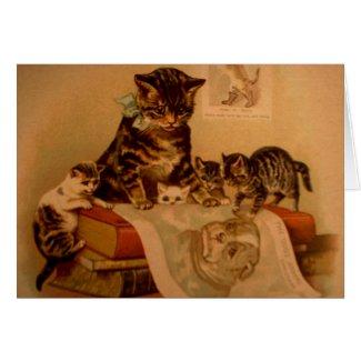旧式な子ネコ及び本の子猫の学校 カード