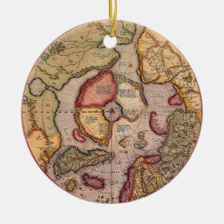 旧式な旧世界の地図、北極北極1595年 セラミックオーナメント