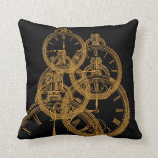 旧式な時計の抽象美術のデザインのプリントの枕 クッション