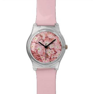 旧式な植物のロマンチックなピンクのアジサイ 腕時計