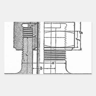旧式な機械用具エンジニア 長方形シール