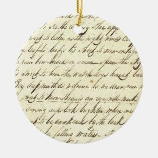 旧式な短命なものの筆記体の書道の原稿の詩歌 セラミックオーナメント