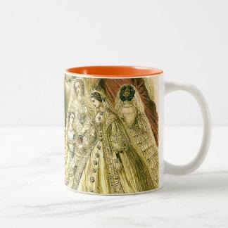 旧式な結婚式のブライダル ツートーンマグカップ