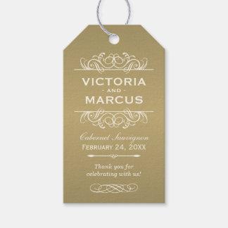 旧式な結婚式のワイン・ボトルのモノグラムのメッセージカード ギフトタグ