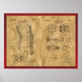 旧式な脊柱のスケッチ ポスター
