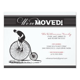 旧式な自転車家族の移動発表(黒) カード