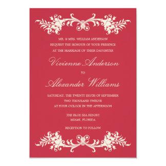 旧式な赤%PIPE%の結婚式招待状 カード