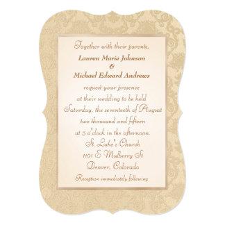 旧式な金ゴールドのダマスク織の結婚式招待状 カード