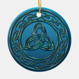 旧式な金属の青緑のケルト族の三位一体の結び目 セラミックオーナメント