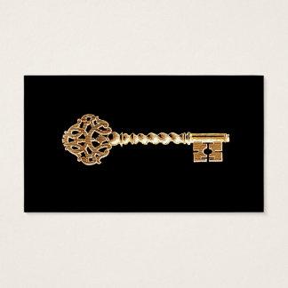 旧式な金金ゴールドのSteampunkの合い鍵 名刺