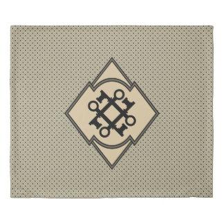 旧式な鍵および鍵穴の幾何学的なパターン 掛け布団カバー