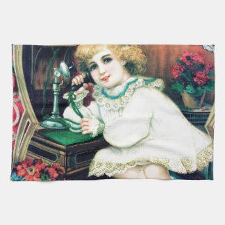 旧式な電話女の子の絵画 ハンドタオル