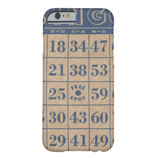 旧式な青およびタンのビンゴカード BARELY THERE iPhone 6 ケース
