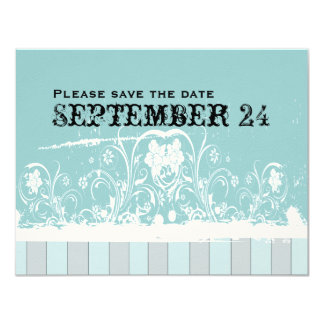 旧式な青の保存日付 カード