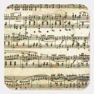 旧式な音楽スコアシート スクエアシール