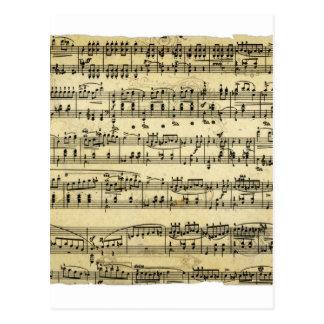 旧式な音楽スコア ポストカード