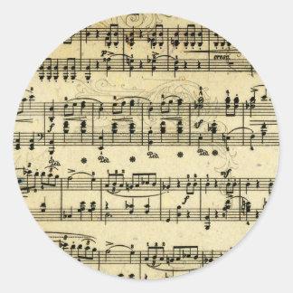 旧式な音楽スコア ラウンドシール