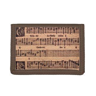 旧式な音楽愛好者のグレゴリオ暦の詠唱の楽譜 ナイロン三つ折りウォレット