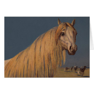 旧式な馬の芸術のアラビアのたそがれの砂漠NoteCard カード