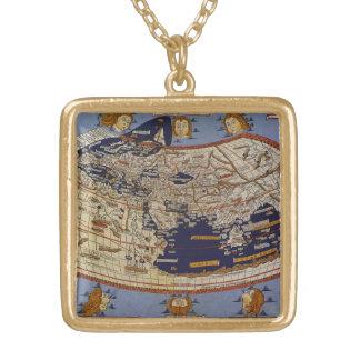 旧式なPtolemaic世界地図、Arnsheimのヨハネス ゴールドプレートネックレス
