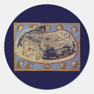 旧式なPtolemaic世界地図、Arnsheimのヨハネス ラウンドシール