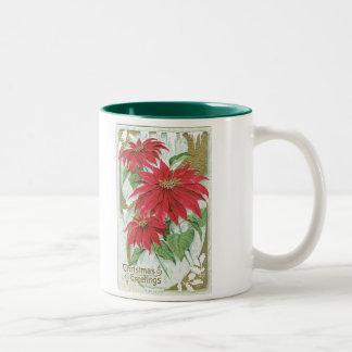 旧式のクリスマスのポインセチア ツートーンマグカップ
