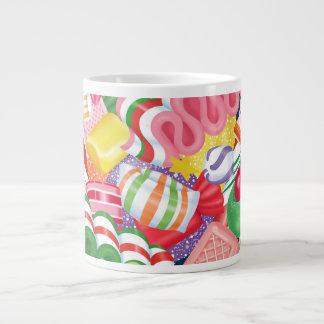 旧式のクリスマスキャンデーのマグ ジャンボコーヒーマグカップ