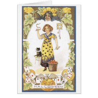 旧式のハロウィンの占い師 カード