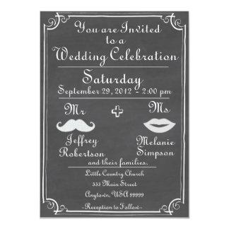 旧式の黒板の結婚式招待状 カード