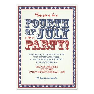 旧式の7月4日のお祝いのパーティー カード