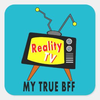 旧式TVのイメージ私のBFFの現実TVのステッカー スクエアシール