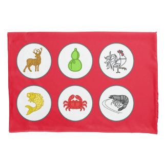 旧正月の赤い魚の車海老のカニのゲームのマット 枕カバー
